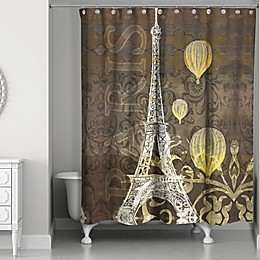 Designs Direct Eiffel Tower Balloons Shower Curtain in Black/Yellow