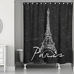 Designs Direct Eiffel Tower Sketch Shower Curtain in Black/White