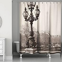 Designs Direct Afternoon in Paris Shower Curtain in Black/Beige
