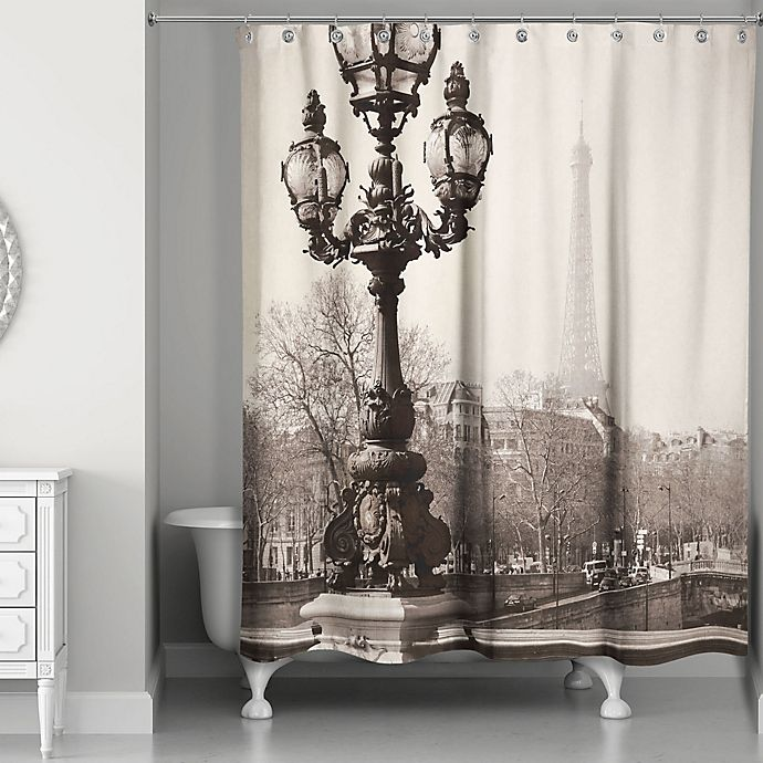 Alternate image 1 for Designs Direct Afternoon in Paris Shower Curtain in Black/Beige