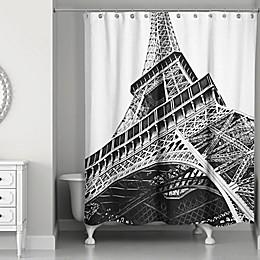 Designs Direct Under the Eiffel Tower Shower Curtain in Black/White