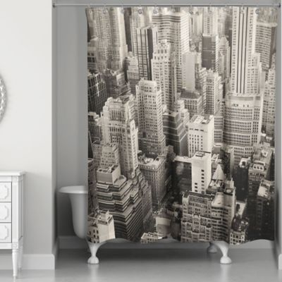 Designs Direct New York City Shower Curtain In White Grey