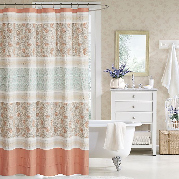 Madison Park Dawn 72 Inch Shower Curtain In Coral