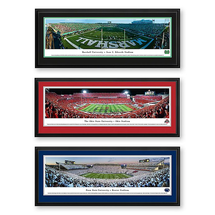 Alternate image 1 for Collegiate Panorama Stadium Print with Deluxe Frame Collection
