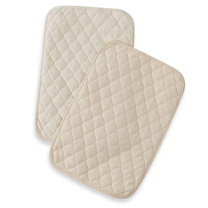 Alternate image 1 for TL Care® 2-Pack Waterproof Quilted Lap & Burp Pads made with Organic Cotton in Natural