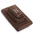 """Avanti Premier Ivory Block Monogram Letter """"B  Bath Towel in Mocha"""