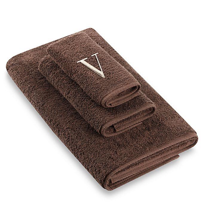 """Alternate image 1 for Avanti Premier Ivory Block Monogram Letter """"V\"""