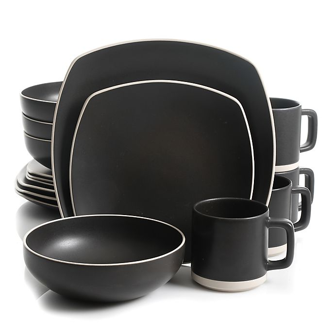 Alternate image 1 for Artisanal Kitchen Supply® Edge 16-Piece Square Dinnerware Set in Graphite