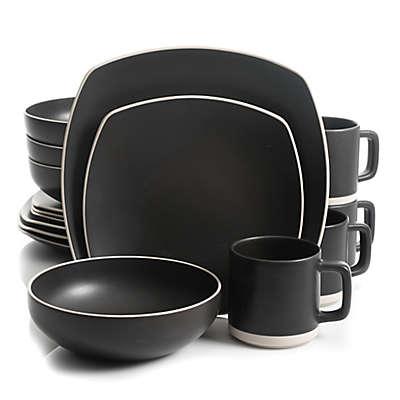 Artisanal Kitchen Supply® Edge 16-Piece Square Dinnerware Set in Graphite