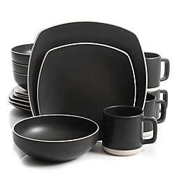 Artisanal Kitchen Supply® Edge 16-Piece Square Dinnerware Set in Graphite