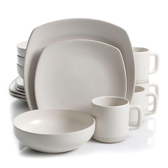 Alternate image 1 for Artisanal Kitchen Supply® Edge 16-Piece Square Dinnerware Set in Linen