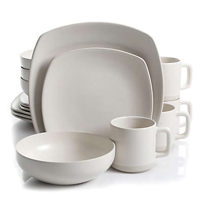 Artisanal Kitchen Supply® Edge 16-Piece Square Dinnerware Set in Linen