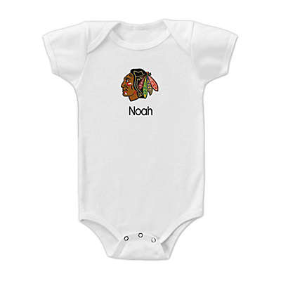 Designs by Chad and Jake NHL Chicago Blackhawks Personalized Short Sleeve Bodysuit in White