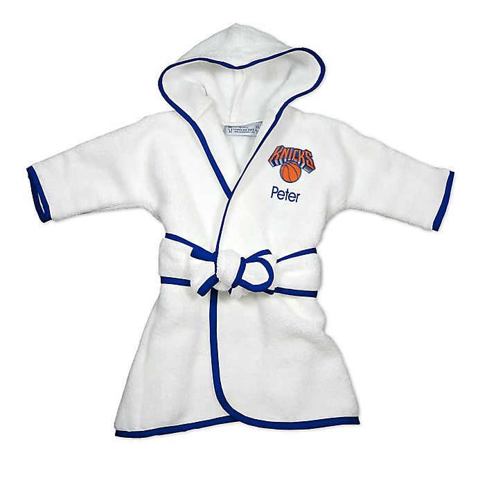 Alternate image 1 for Designs by Chad and Jake NBA New York Knicks Personalized Hooded Robe in White