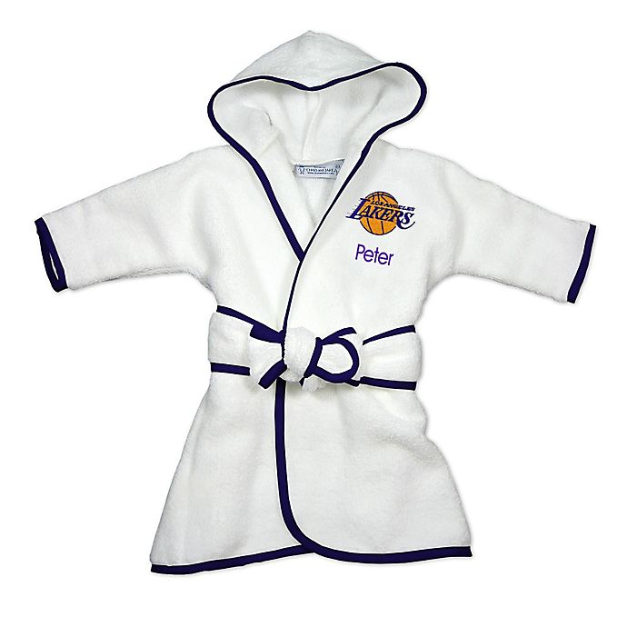 Alternate image 1 for Designs by Chad and Jake NBA Los Angeles Lakers Personalized Hooded Robe in White