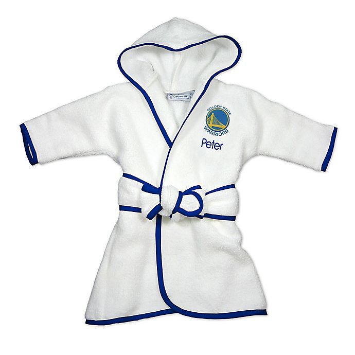 Alternate image 1 for Designs by Chad and Jake NBA Golden State Warriors Personalized Hooded Robe in White