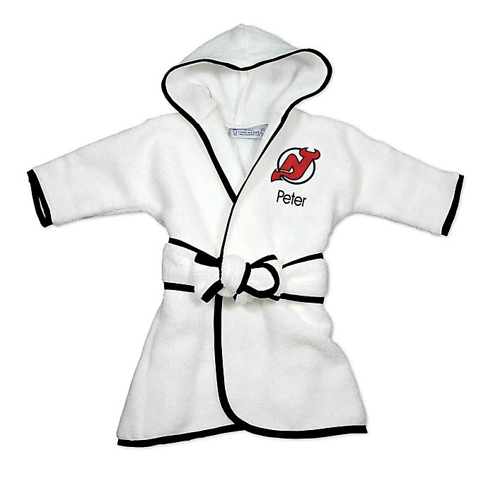 Alternate image 1 for Designs by Chad and Jake NHL New Jersey Devils Personalized Hooded Robe in White