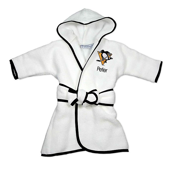 Alternate image 1 for Designs by Chad and Jake NHL Pittsburgh Penguins Personalized Hooded Robe in White