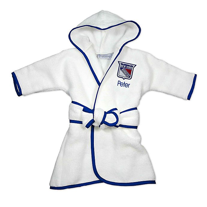 Alternate image 1 for Designs by Chad and Jake NHL New York Rangers Personalized Hooded Robe in White