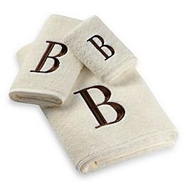Avanti Premier Brown Block Monogram Bath Towel Collection in Ivory