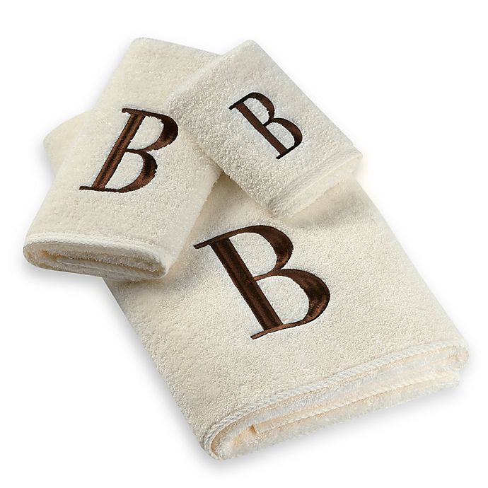 Alternate image 1 for Avanti Premier Brown Block Monogram Fingertip Towels in Ivory