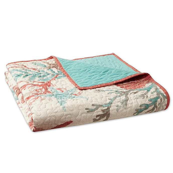 Alternate image 1 for Madison Park Pebble Beach Oversized Cotton Quilted Throw Blanket in Coral