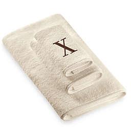 "Avanti Premier Brown Block Monogram Letter ""X"" Bath Towel in Ivory"