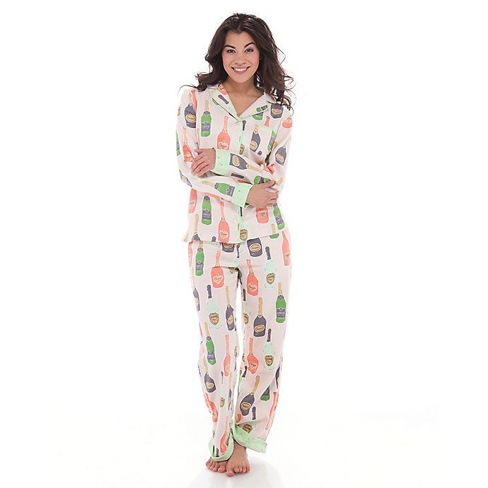 Alternate image 1 for Munki Munki® 2-Piece Champagne Long Sleeve Flannel Classic Pajama Set