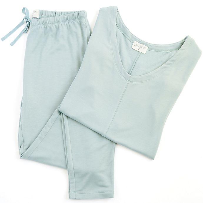 Alternate image 1 for Pure Fiber Delilah Medium Short-Sleeved Loungewear Set in Stone Blue