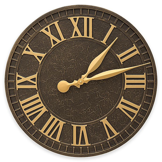 Alternate image 1 for Whitehall Products 16-Inch Geneva Indoor/Outdoor Wall Clock in Aged Bronze