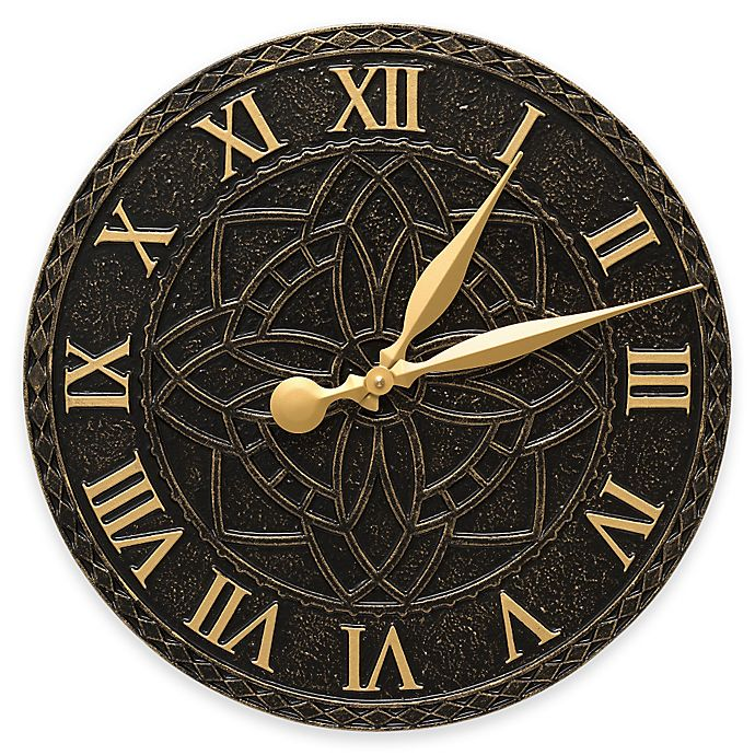 Alternate image 1 for Whitehall Products Artisan Indoor/Outdoor Wall Clock in Black/Gold