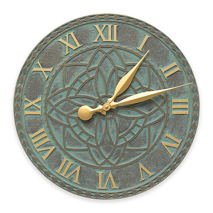 Alternate image 1 for Whitehall Products Artisan Indoor/Outdoor Wall Clock in Bronze Verdigris