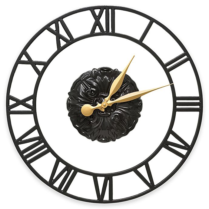 Alternate image 1 for Whitehall Products Cambridge Wall Clock in Black