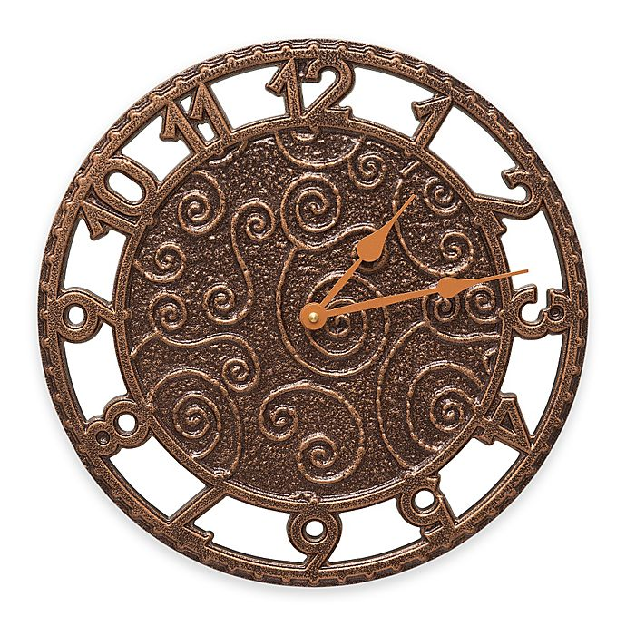 Alternate image 1 for Whitehall Products Flourish Wall Clock in Antique Copper