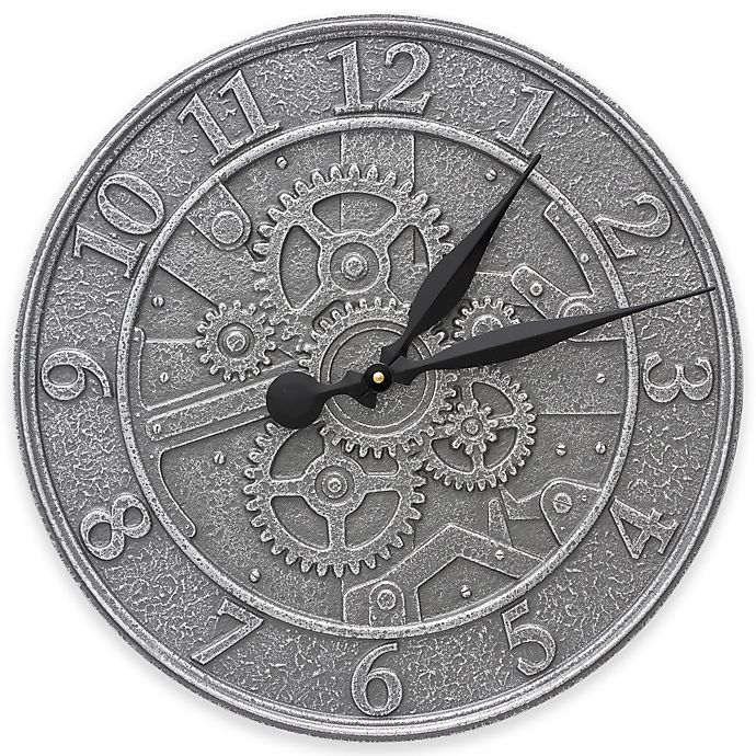 Alternate image 1 for Whitehall Products 16-Inch Gear Indoor/Outdoor Wall Clock in Pewter Silver