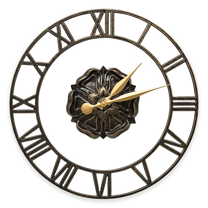 Alternate image 1 for Whitehall Products Rosette Wall Clock in Black/Gold
