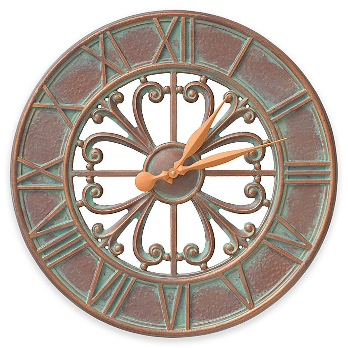 Alternate image 1 for Whitehall Products Villanova 21-Inch Indoor/Outdoor Clock in Copper Verdigris