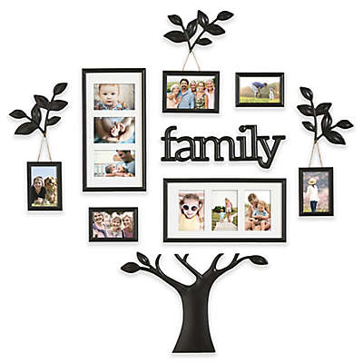 "WallVerbs™ 12-Piece ""Family"" Branch Finial Tree Photo Frame Set in Black"