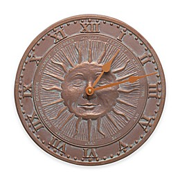 Whitehall Products 21-Inch Sunface Indoor/Outdoor Wall Clock in Copper Verdigris