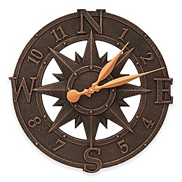 Whitehall Products 16-Inch Compass Rose Indoor/Outdoor Wall Clock in Oil Rubbed Bronze