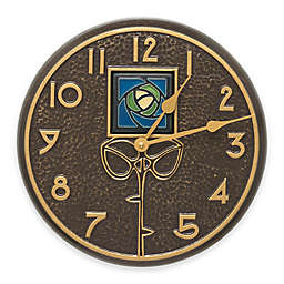 Whitehall Products 21-Inch Blue Dard Hunter Rose Indoor/Outdoor Wall Clock in French Bronze