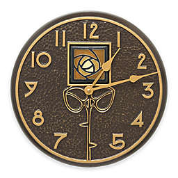 Whitehall Products 12-Inch Amber Dard Hunter Rose Indoor/Outdoor Wall Clock in French Bronze