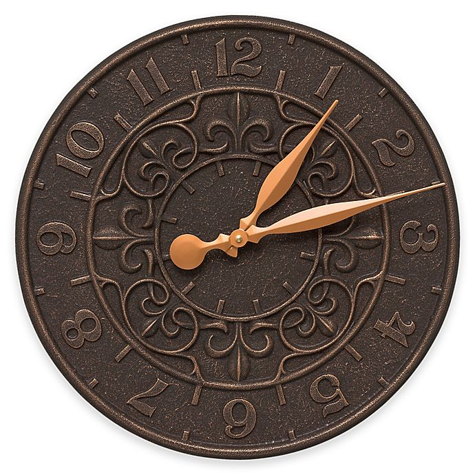 Alternate image 1 for Whitehall Products Vine and Fleur Indoor/Outdoor Wall Clock