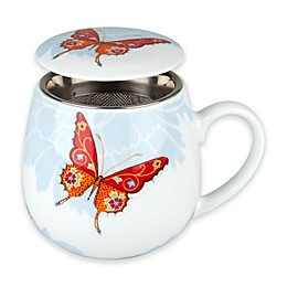 Konitz Bijou Butterfly and Blossom 3-Piece Tea for One Mug Set in White/Orange