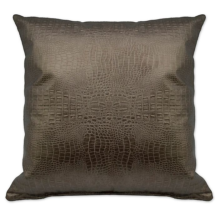 Alternate image 1 for Sherry Kline Faux Alligator Square Throw Pillow in Bronze/Gold