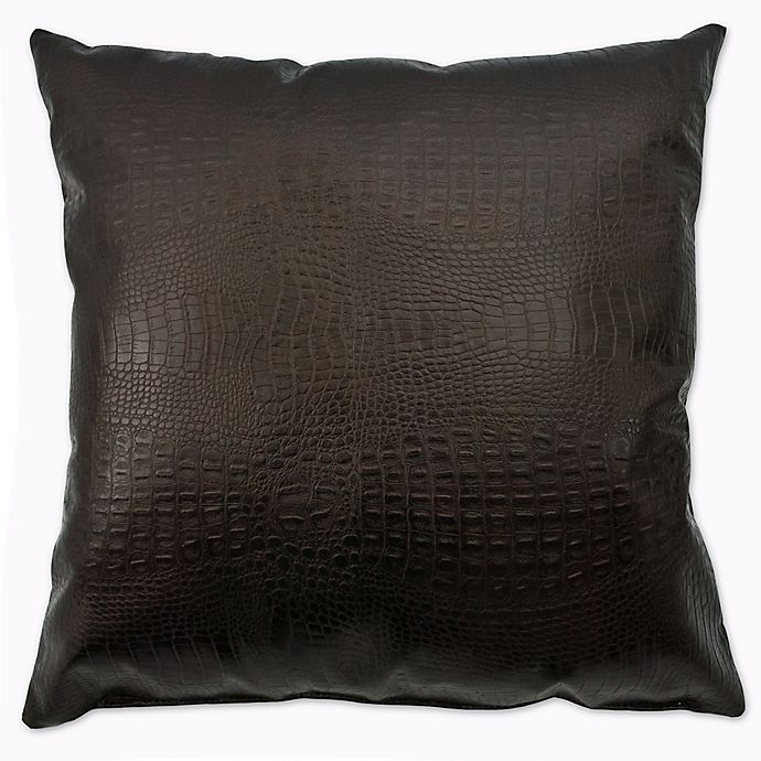 Alternate image 1 for Sherry Kline Faux Alligator Square Throw Pillow in Dark Bronze