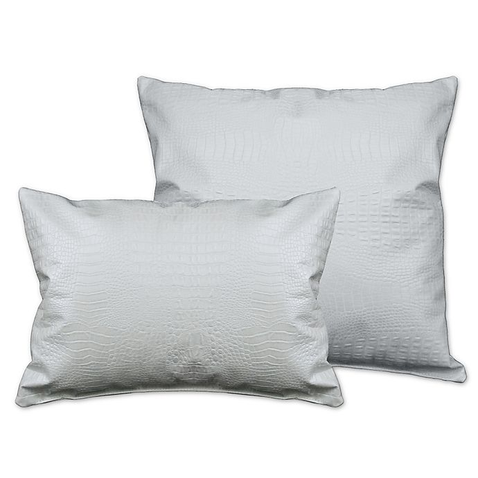 Alternate image 1 for Sherry Kline Faux Alligator Throw Pillows in Pearl White (Set of 2)
