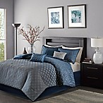 Madison Park Biloxi 7-Piece Queen Comforter Set in Navy