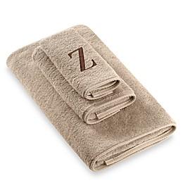 Avanti Premier Brown Block Monogram Fingertip Towels in Linen