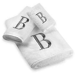 Avanti Premier Silver Block Monogram Hand Towels in White